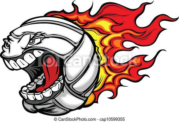 Flaming Volleyball Ball Screaming Face Vector Cartoon - csp10599355
