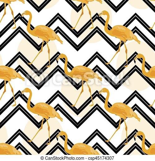 flamingo, bakgrund, guld, hand, sparre, oavgjord - csp45174307