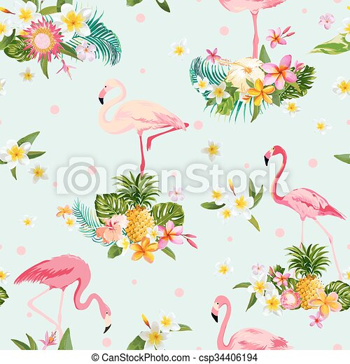 Flamingo Bird and Tropical Flowers Background - Retro seamless pattern - in vector - csp34406194