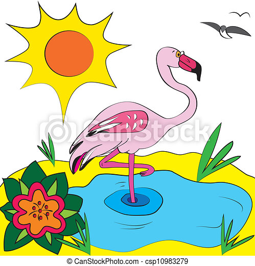 flamingo color page illustration - csp10983279