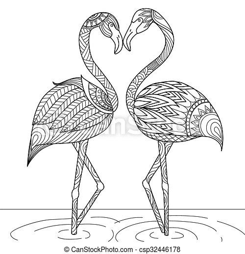 Flamingo for coloring book - csp32446178