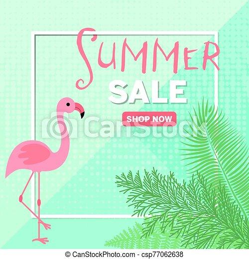 Flamingo for decoration design. Discount poster. Big sale banner template. Decoration element. Beautiful background. Summer sale background template. Promotion banner design. Summer tropical leaf. - csp77062638