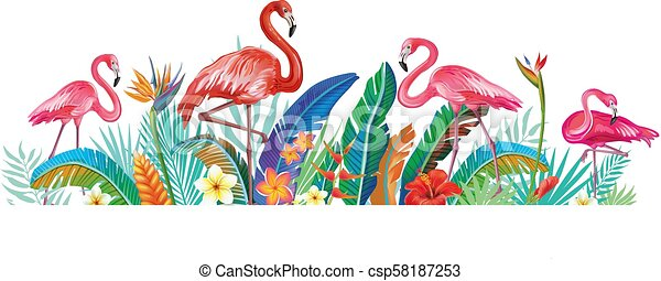 Flamingoes with tropical flowers - csp58187253