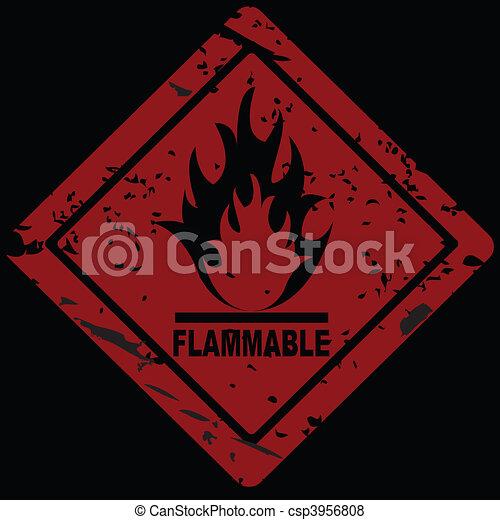 Flammable Fire Hazard warning symbol - csp3956808
