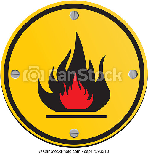 flammable round yellow sign - csp17593310