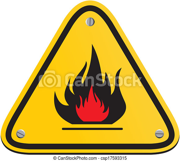 Flammable Triangle Yellow Sign Suitable For Warning Signs