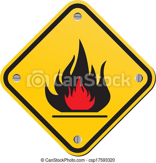flammable warning sign - csp17593320