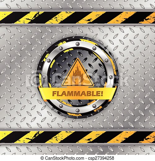 Flammable warning sign on metallic plate - csp27394258