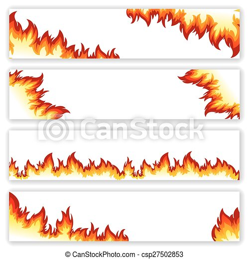 flamme, bannières, ensemble - csp27502853
