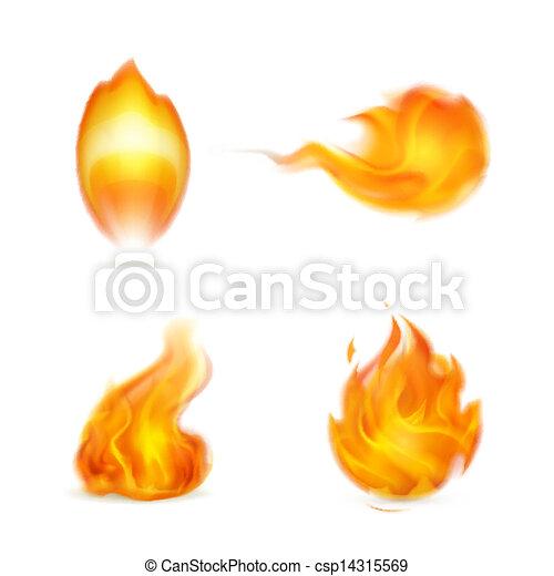 flamme, vecteur, icône - csp14315569
