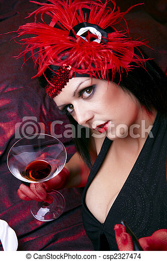 Flapper Lady Flirting With Glass Of Drink - csp2327474