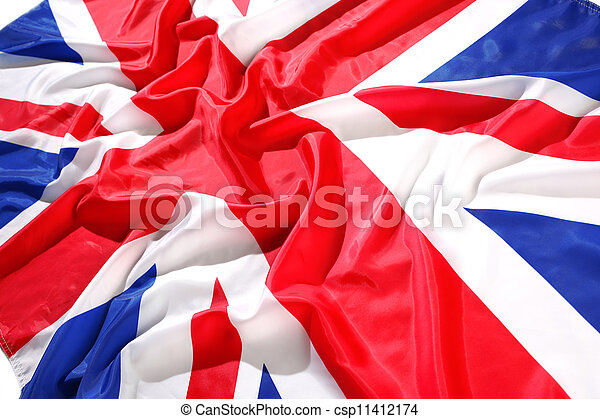 flapping flag UK with wave - csp11412174