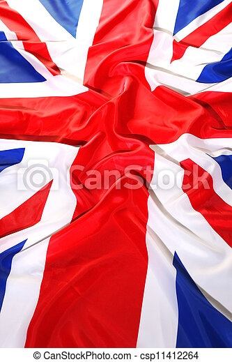 flapping flag UK with wave - csp11412264