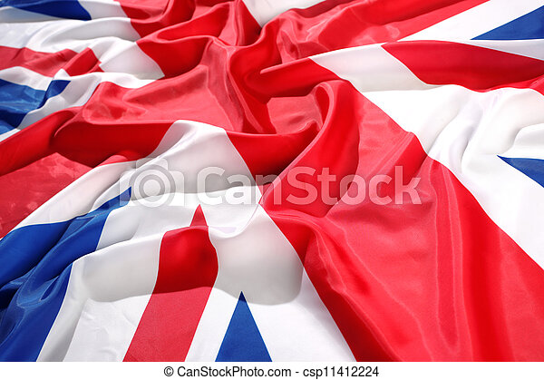 flapping flag UK with wave - csp11412224