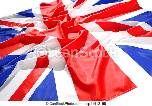 flapping flag UK with wave - csp11412196