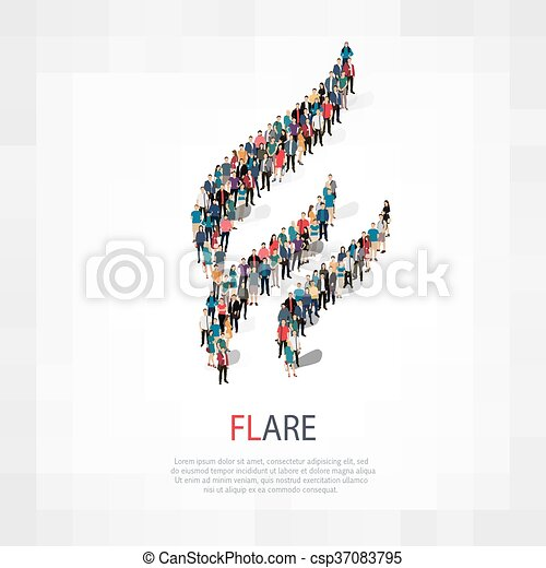 flare people sign 3d - csp37083795