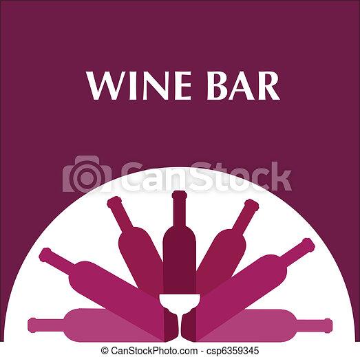 Flaschen, menüschablone, bar, wein brille. Rosa, flaschen, schablone ...