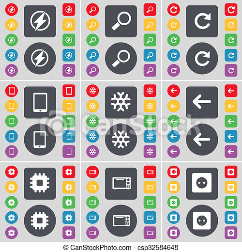 Flash, Magnifying glass, Reload, Tablet PC, Snowflake, Arrow left, Processor, Microwave, Socket icon symbol. A large set of flat, colored buttons for your design. - csp32584648