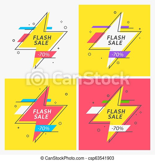 Flash ribbon banner, scroll, price tag, sticker, badge - csp63541903