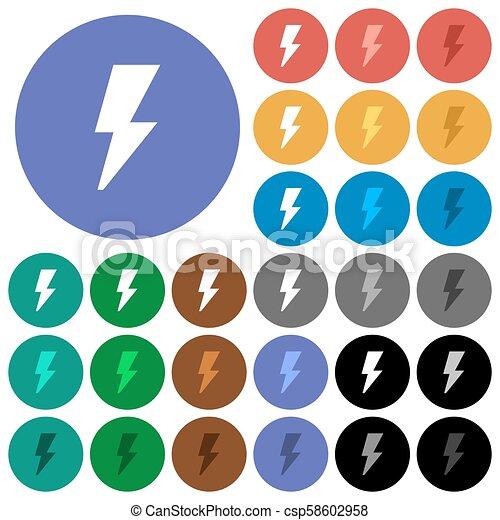 Flash round flat multi colored icons - csp58602958