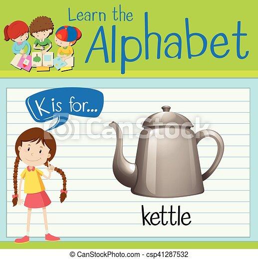 Flashcard alphabet K is for kettle - csp41287532