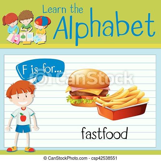 flashcard, fastfood, brief f - csp42538551