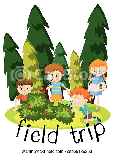 flashcard for field trip with kids learning in garden clip art rh canstockphoto com school field trip clipart field trip reminder clipart
