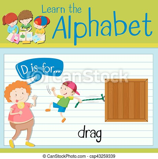 Flashcard letter D is for drag - csp43259339