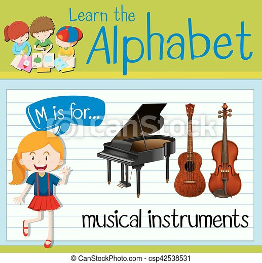 d7a53b0f2fd8b Flashcard letter m is for musical instruments illustration.