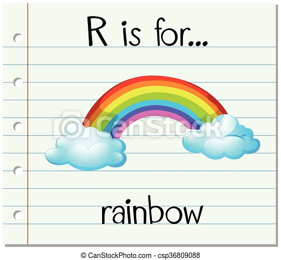 flashcard letter r is for rainbow illustration
