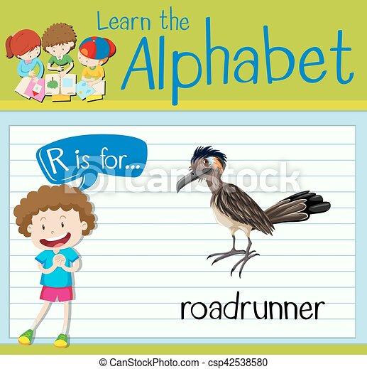 Flashcard letter R is for roadrunner - csp42538580