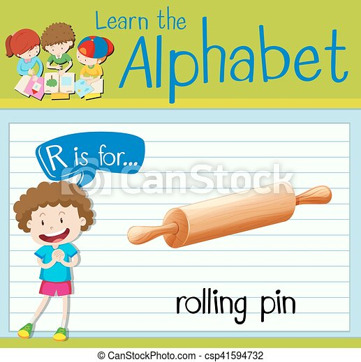 Flashcard letter R is for rolling pin - csp41594732