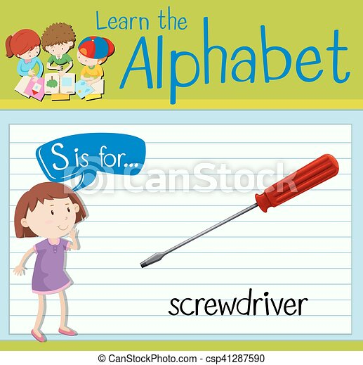 Flashcard letter S is for screwdriver - csp41287590