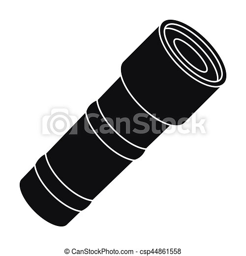 Flashlight icon in black style isolated on white background. Police symbol stock vector illustration. - csp44861558