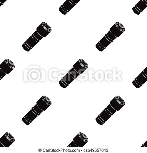 Flashlight icon in black style isolated on white background. Police symbol stock vector illustration. - csp49657843