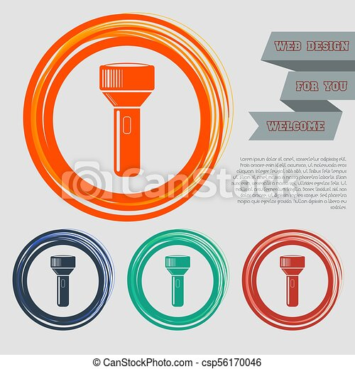 flashlight icon on the red, blue, green, orange buttons for your website and design with space text. Vector - csp56170046