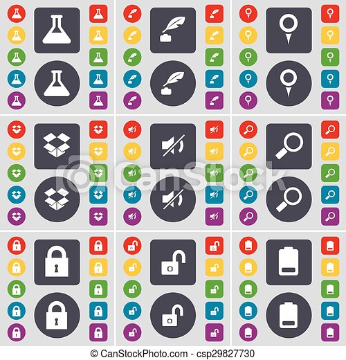 Flask, Ink pot, Checkpoint, Dropbox, Mute, Magnifying glass, Lock, Battery icon symbol. A large set of flat, colored buttons for your design. Vector - csp29827730