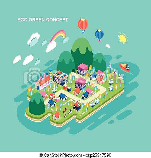 flat 3d isometric eco green concept illustration - csp25347590
