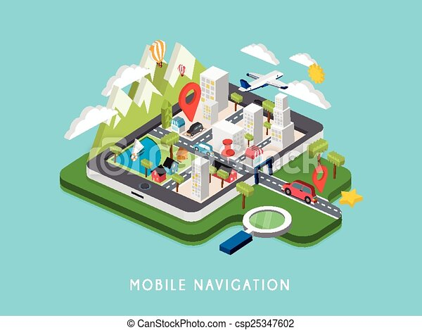 flat 3d isometric mobile navigation illustration - csp25347602