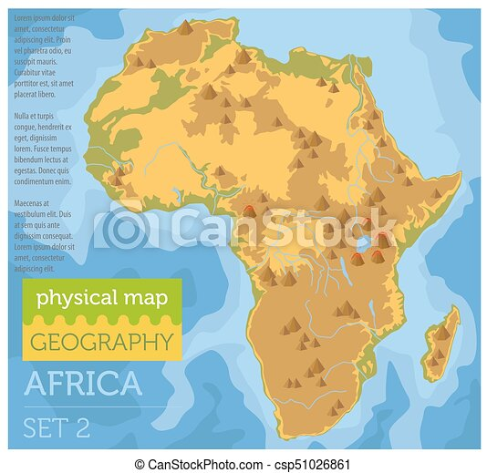 Africa Physical Maps.Flat Africa Physical Map Constructor Elements On The Water Surface Build Your Own Geography Infographics Collection