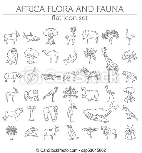 Flat african flora and fauna elements. animals, birds and sea life ...