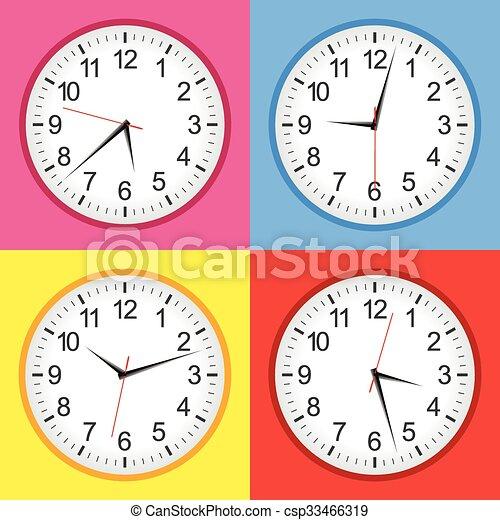 Flat analogue clock colour set - csp33466319