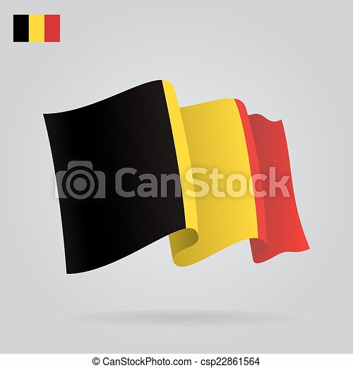 Flat and waving Belgian Flag. Vector - csp22861564