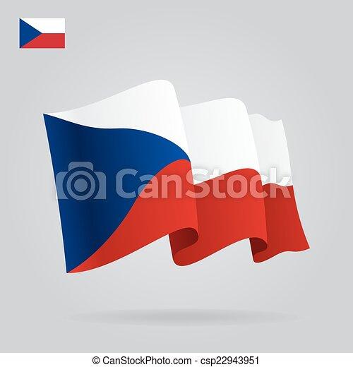Flat and waving Czech Republic Flag. Vector - csp22943951