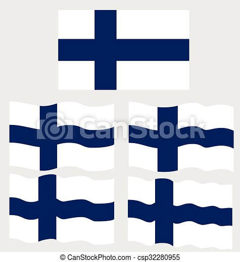 Flat and Waving Flag of Finland - csp32280955
