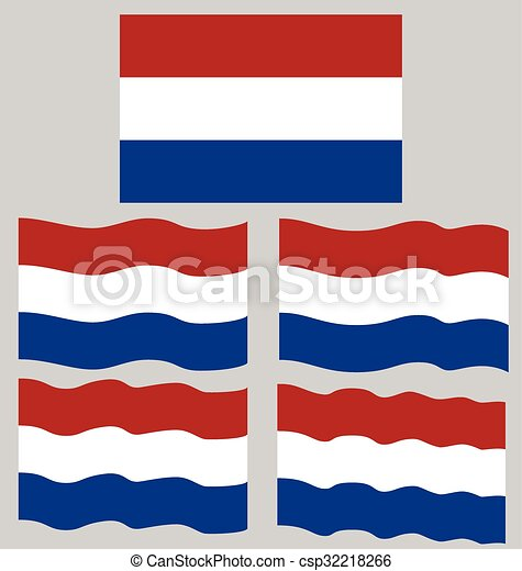 Flat and Waving Flag of Netherlands - csp32218266