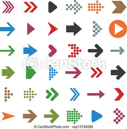 Flat arrow icons. - csp13194284