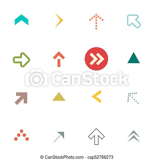 Flat Arrows Set Vector Arrow Symbols Isolated On White Vectors
