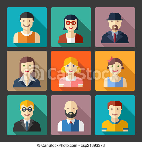 Flat avatar icons, faces, people icons - csp21893378