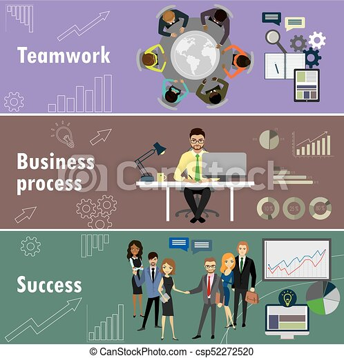 flat banner set with teamwork, business process and success - csp52272520